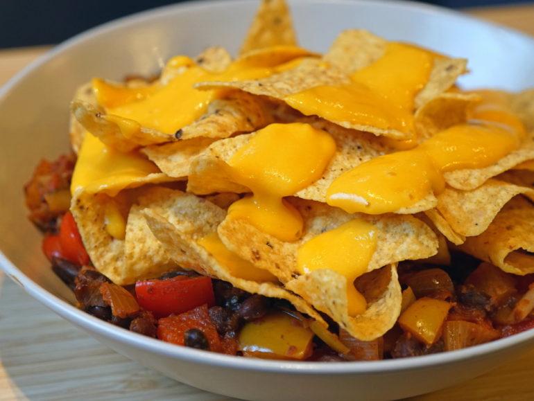 Loaded nacho's with homemade vegan cheese sauce